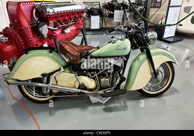 two tone cream & green vintage 1940's Indian motorcycle on display at Heritage Flight Museum Bellingham - Stock Image