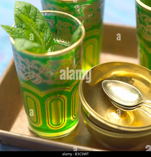 Mint tea on a tray - Stock Image