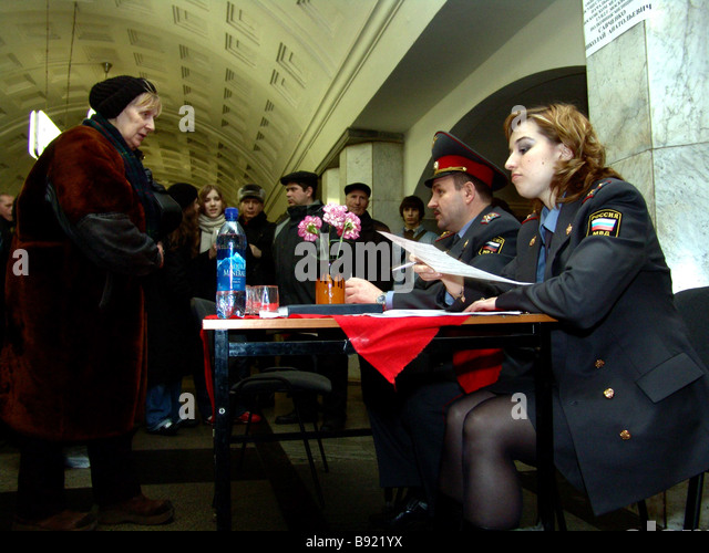 Internal Affairs division servicing Moscow underground gets feedback from the passengers on performance by its subordinates - Stock Image