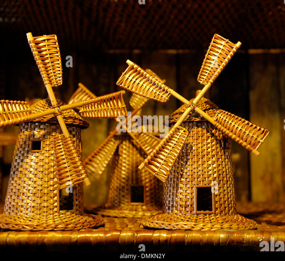 Madeira Portugal. Wicker windmill souvenirs in a wicker factory shop in Camacha - Stock Image