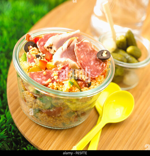 cooked meat and tuna tabbouleh - Stock Image