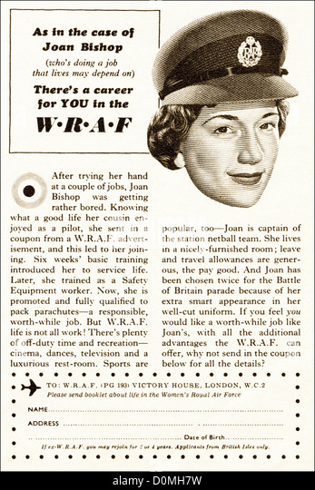 Original 1950s vintage print advertisement from English magazine advertising WRAF Womens Royal Air Force circa 1955 - Stock Image