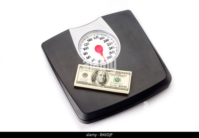 weight scale on white - Stock Image