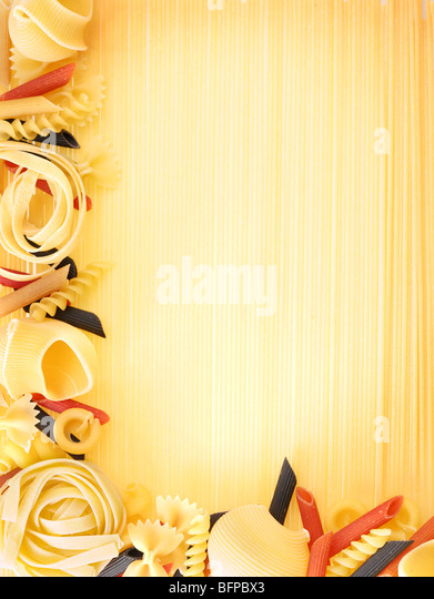 Macaroni on a spagetties backgroung - Stock Image