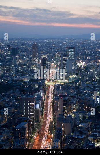 Japan, Asia, Tokyo, city, Shuto, Expressway, Shibuya, sunset, architecture, big, buildings, city, downtown, expressway., - Stock Image
