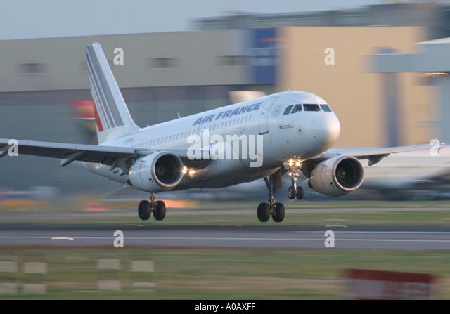 Air France Airbus A319-111 F-GRXA landing at London Heathrow UK - Stock Image