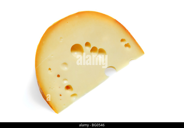 piece of cheese isolated on white - Stock Image