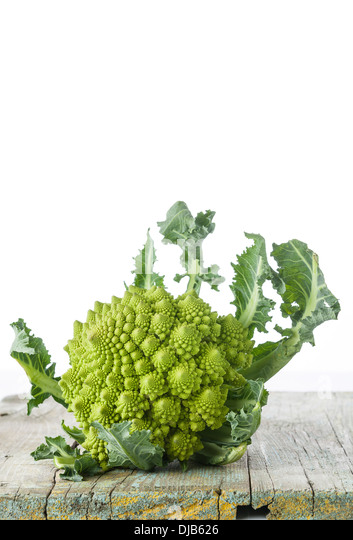 Cauliflower Romanesco on white background - Stock Image
