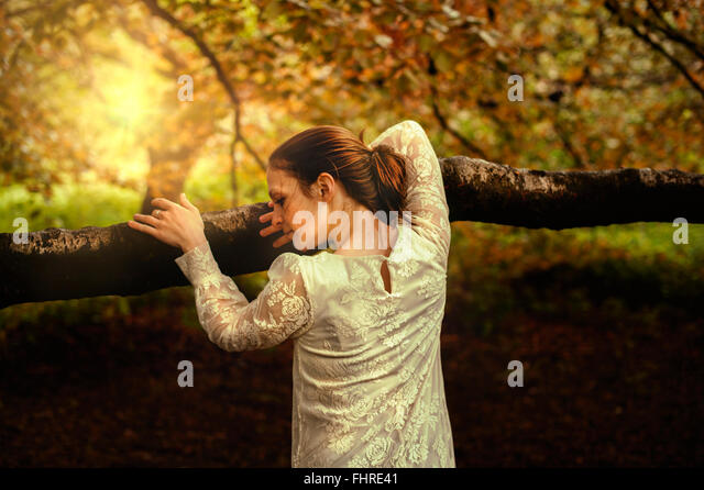 young woman in park leaning on tree branch - Stock-Bilder