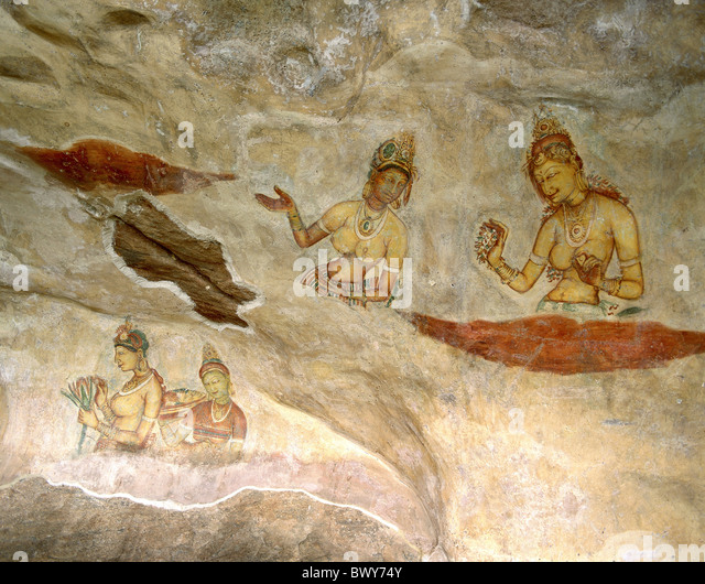 ruins Sigiriya women Sri Lanka Asia mural painting - Stock-Bilder