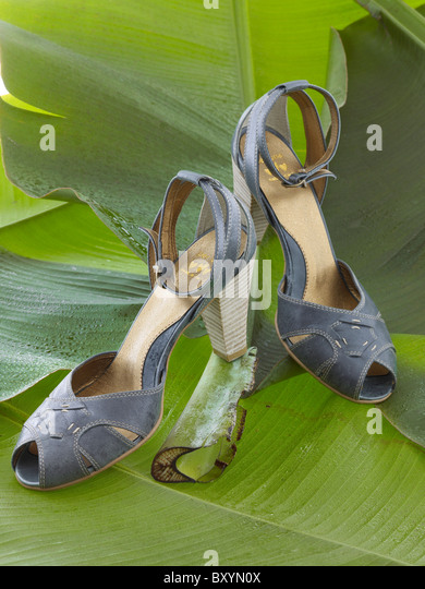 pair of blue strappy womens high heel shoes on banana leaves - Stock Image
