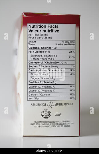 food label box - Stock Image