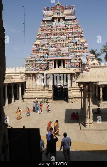 Various gopurams of the Ranganathaswamy Temple, Srirangam, the largest functioning Hindu temple in the world. - Stock Image