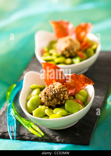 Meat Rolls with Beans and Chorizo - Stock Image