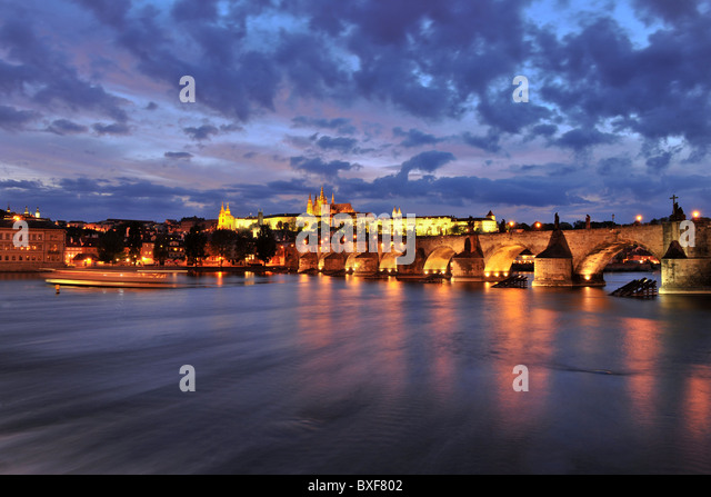 view from club lavka terace to charles bridge during dawn, prague ,czech , republic 2010 - Stock Image