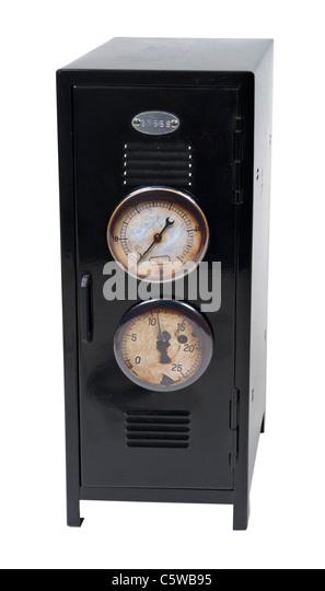 School pressure shown by several gauges on a black metal school locker - path included - Stock Image