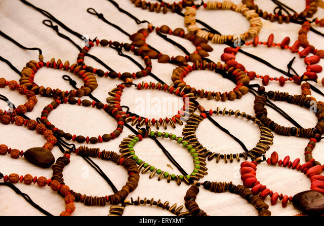 Necklace of wood bead and seeds of fruits at shantiniketan ; Calcutta Kolkata ; West Bengal ; India - Stock Image