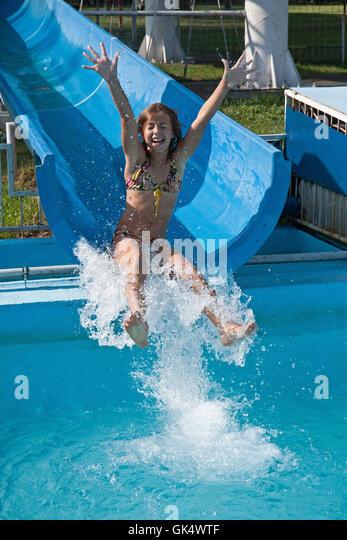 Girl bikini pool vacation travel wet young resort stock - Swimming pool girl christmas vacation ...