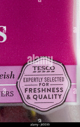 Tesco expertly selected for freshness & quality - detail on pack of cherries - Stock Image