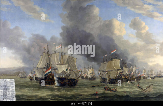 The Battle of Livorno - by Reinier Nooms, 1653 - 1664 - Stock Image