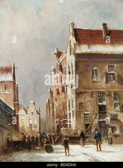 fine arts, Vertin, Pieter Gerardus (1819 - 1893), painting, 'Little Town in the Snow', Galerie Hessler, - Stock-Bilder