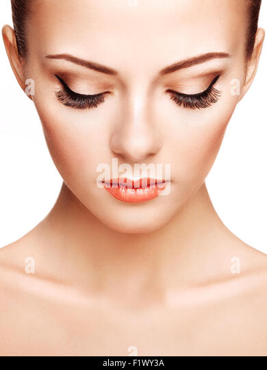 Beautiful woman face. Perfect makeup. Beauty fashion - Stock Image