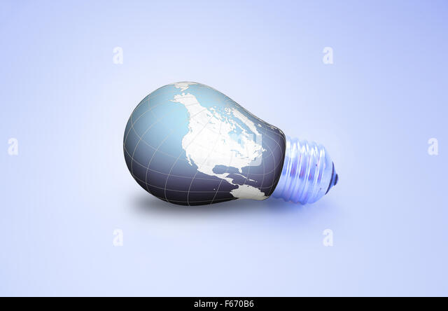 World  bulb isolated on white background - Stock Image