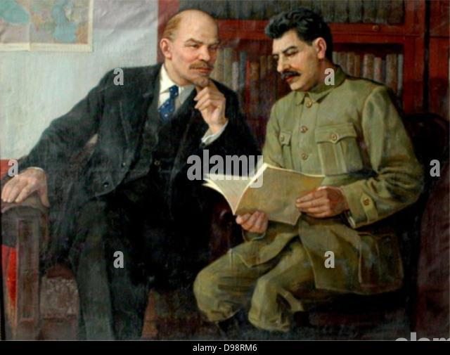 Vladimir Lenin and Joseph Stalin 1920-22 painted by vasilev - Stock Image