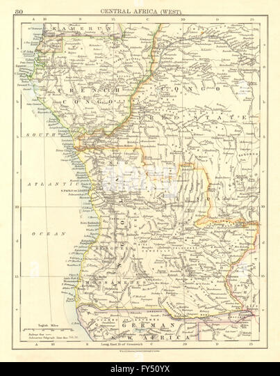 COLONIAL CENTRAL AFRICA. French Congo Free State Angola. JOHNSTON, 1906 map - Stock-Bilder