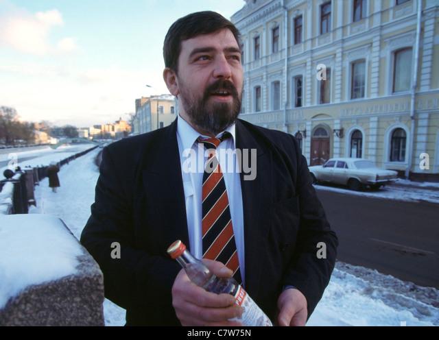 Boris Smirnov, great-great-grandson of Pyotr Smirnov, outside the building where the original Smirnov vodka was - Stock Image