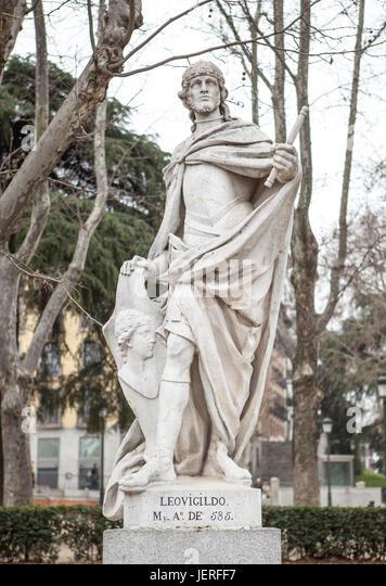 Madrid, Spain - february 26, 2017: Sculpture of Leovigild King at Plaza de Oriente, Madrid. He was a Visigothic - Stock Image