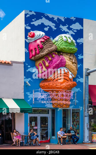 Cuban neighborhood of Little Havana in Miami Florida - Stock Image