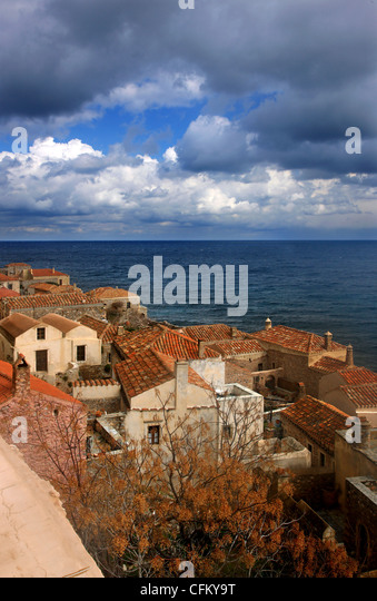 Traditional houses in the medieval 'castletown' of Monemvasia (or 'Malvasia'), in Lakonia Prefecture, - Stock Image