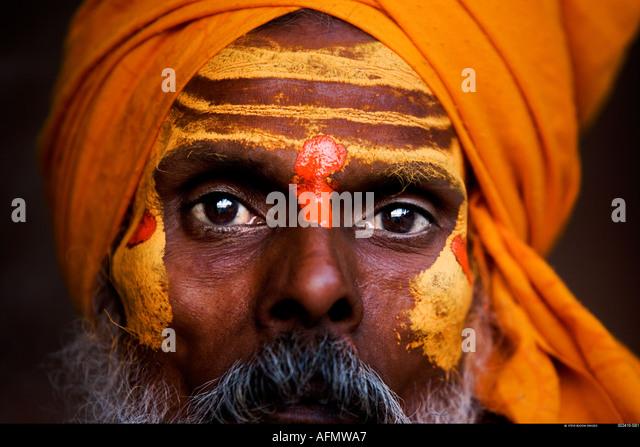 Sadhu holy man Varanasi India - Stock Image