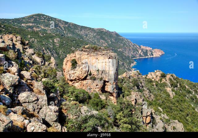 Calanques de Piana, Chateau Fort, Piana, Corsica, France - Stock-Bilder