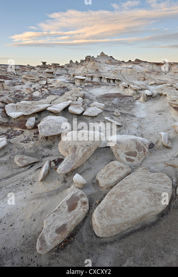Rocks in the badlands at sunrise, Bisti Wilderness, New Mexico, United States of America, North America - Stock Image