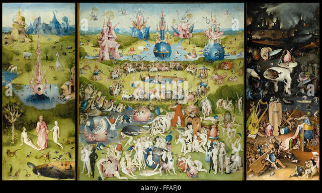The Garden of Earthly Delights Triptych panel painting by Hieronymus Bosch - Stock Image