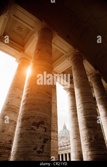 Low angle view of Roman columns - Stock Image
