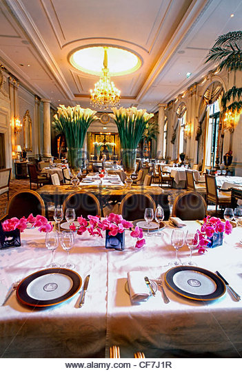 Interior classic french restaurant stock photos
