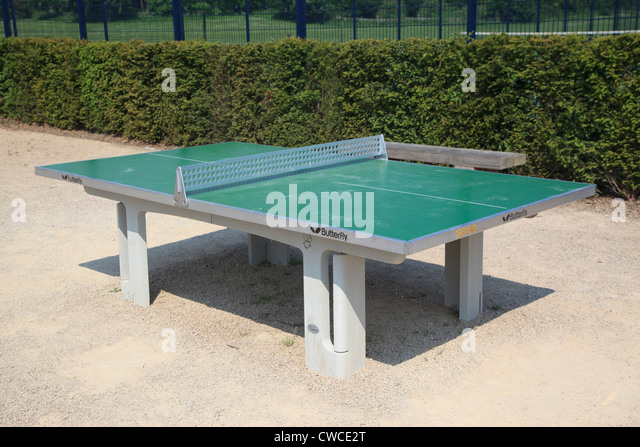 Outdoor table tennis table in Reigate Priory Park - Stock Image