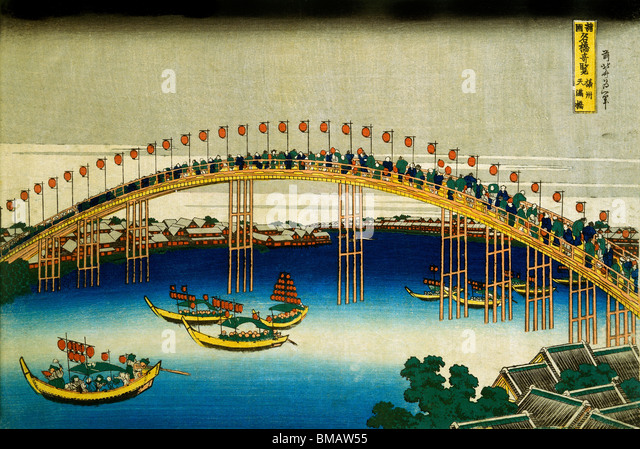 Evening Scene on the occasion of the Festival of Lanterns, by Katsushika Hokusai. Japan, 1834 - Stock Image