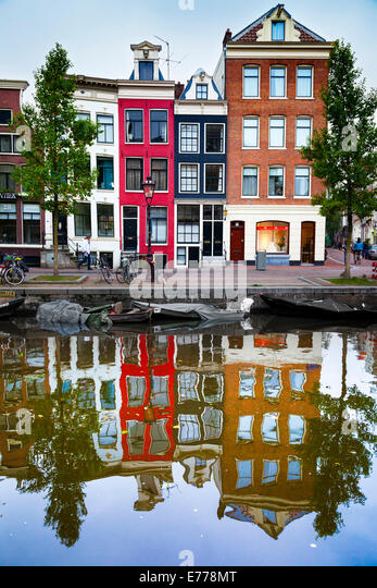 Typical, old, Amsterdam, canal-side houses on Spiegelgracht. Amsterdam, Holland - Stock Image