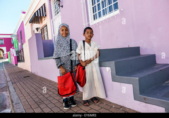 South Africa African Cape Town Bo-Kaap Schotsche Kloof Malay Quarter Muslim neighborhood Chiappini Street girl burqa - Stock Image