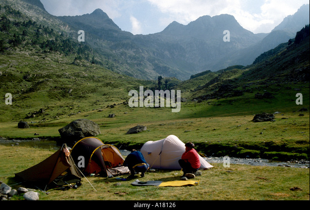 Vallee du Marcadau, Pyrenees, France. Camped near the Wallon hut - Stock Image