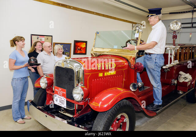 Indiana Portage Countryside Park Alton Goin Historical Museum regional history heritage American LaFrance fire truck - Stock Image