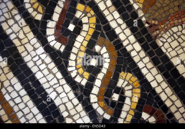 Roman Art. Detail of geometric mosaic. From Vigna Brancadoro, Rome, Via Tiburtina. Vatican Museums. City of the - Stock Image