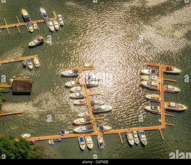 Aerial view, jetties, Marina, Gut Marina Eldenburg, Waren (Müritz), Mecklenburg Lake District, Mecklenburgian - Stock Image
