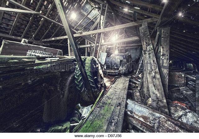 inside abandoned barn - Stock Image