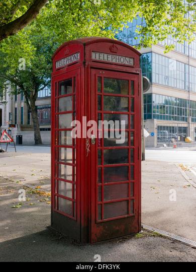Traditional red telephone box in Nottingham, United Kingdom, UK - Stock Image