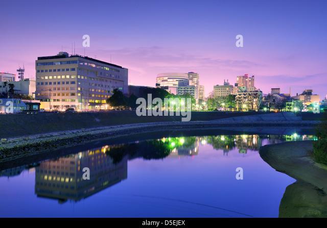 Okayama, Japan cityscape at the Asahi River. - Stock Image